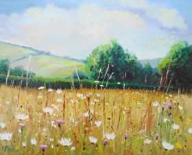 wildflowers, summer, fields, sunlight, affordable oil painting, peaceful, landscape,