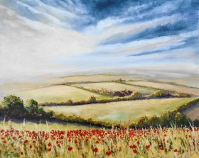 Poppies, fields, sunrise, tranquility.landscape, affordable oil painting, red, dawn , sunrise,
