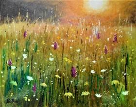 Sunrise, meadow, wildflowers, affordable oil painting, peace, sunlight, fields, landscape.