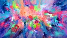 Full frontal unframed image Fluid colourful abstract