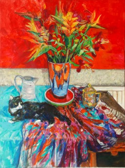 main cat  and flowers