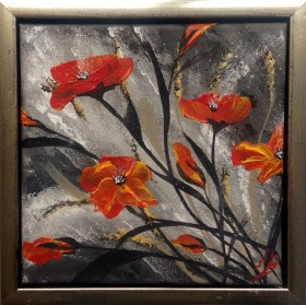 Red Poppies in a Gold Frame