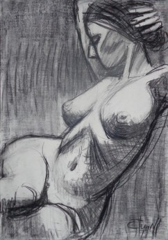 propped nude woman drawing