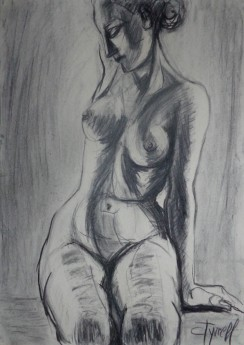 seated female nude frontal