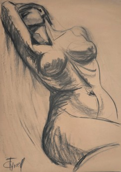 resting female nude drawing