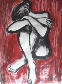 distressed seated nude