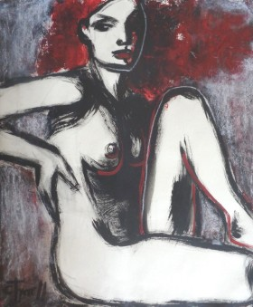 seated nude figure painting