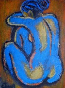 back of nude figure sitting down