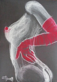 black white and red nude torso