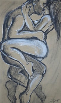 embraced lovers kissing