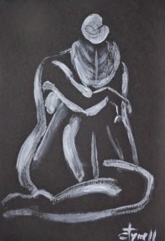 seated sad female nude