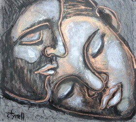 portrait of man and woman lovers