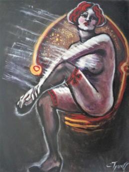 nude woman crossed legs on chair