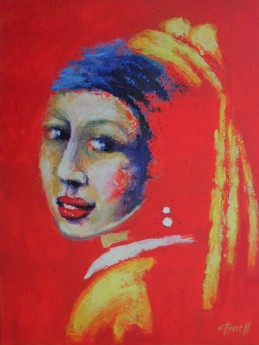 Girl With A Pearl Earring - Red Portrait 2