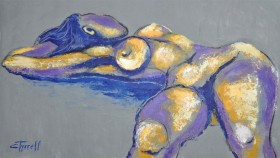 lying down female nude painting