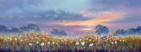 trees dusk meadows misty