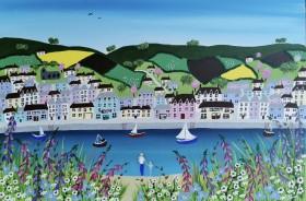 Sea village meadow flowers painting