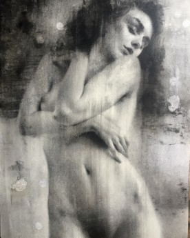 Nude drawing on wooden panel