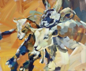 3 Goats painting
