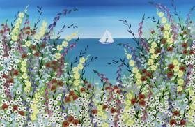 Beach meadow flowers painting