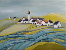 Village by the River - oil on canvas