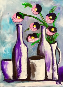 Bottles and Pots with Wild  Flowers #8