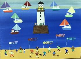 Kite racing on the beach