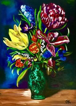 Bouquet of Summer Flowers in Malachite Vase