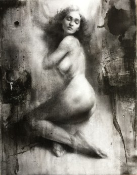 Figurativeart on wooden panel, contemporary nude artwork,nude painting