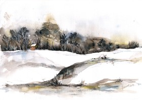 Early Snows - watercolor and ink on paper