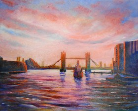London, Tower Bridge, affordable art, River Thames,sunset, river affordable oil painting, reds,