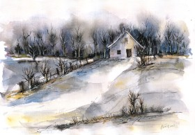 Winter Tale watercolor and ink on paper