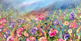 Crimson and Violet Poppy Meadow # Resin