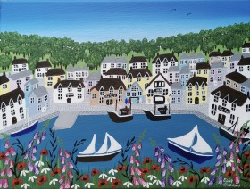 Contemporary Cornish harbour painting