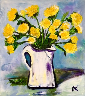 Dandelions, white jar  Palette knife painting  Full frontal image  Ready to hang
