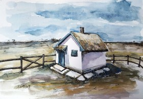 The Shepherd's Cottage watercolor painting on paper