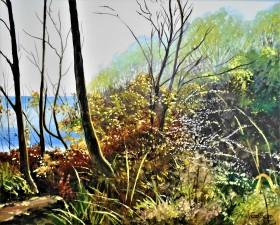 Sunlight trees coastal folk3estone, sea affordable oil painting,