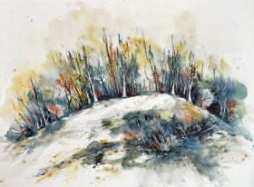 The Wooden Hill watercolor painting