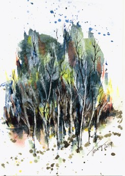 Autumn Trees watercolor painting on paper