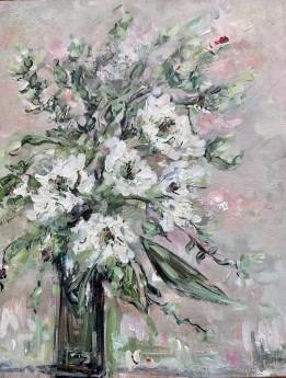 White Flowers Flowers in a bouquet Texture art original art