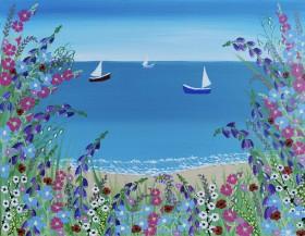 Sea meadow flowers painting