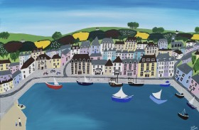 Sea village Cornwall painting