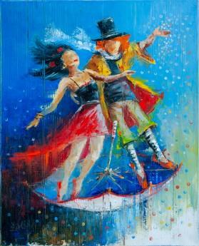 couple, family, umbrella, flying, together, fantasy, dream, christmas, gift, rain, girl, boy