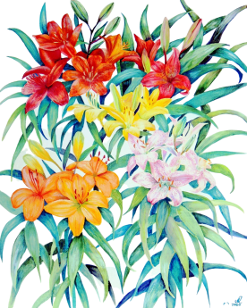 Botanical oil painting