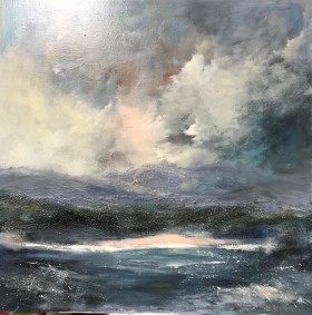 seascape with dramatic sky and sea clouds beach mountains