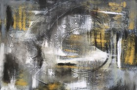 A space in time abstract painting, gold, silver and white. Full frontal