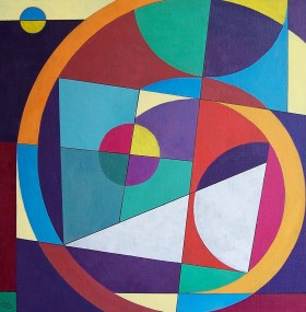 Geometric Abstract with White Triangle