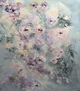 Flowers romantic semi abstract painting