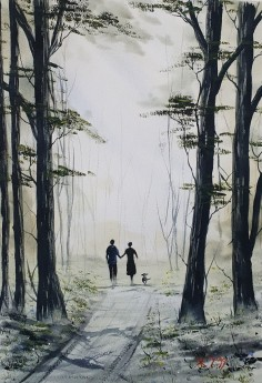 Orginal watercolour Afternoon Walk .  A couple walking the dog in the woods .