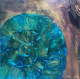 Ammonite turquoise Gold Amethyst Contemporary large painting